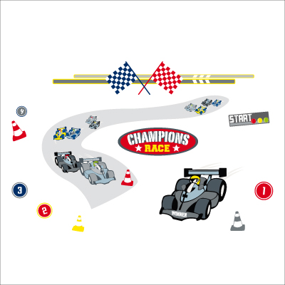 Sticker circuit auto for Chambre garcon voiture de course